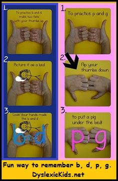 Fun way for kids with dyslexia to remember b, d, p and g.   DyslexicKids.net