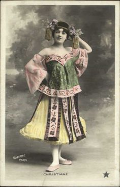 Actress Christiane Beauitful Costume c1910 Tinted Real Photo Postcard | eBay