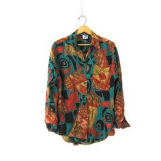 Tribal Print Graphic Shirt Rayon Button Up Shirt Vintage High Low Abstract Long Sleeve Blouse Retro Earthy Womens from Dirty Birdies Vintage. Funky Shirts, 90s Shirts, Retro Shirts, Graphic Long Sleeve Shirts, Graphic Shirts, Hipster Fashion, Hipster Style, Fall Outfits, Casual Outfits
