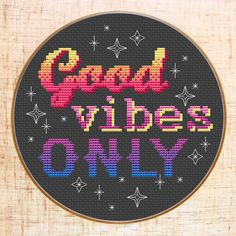 Good vibes only Cross Stitch Pattern. Modern motivation cross stitch by MariBoriEmbroidery.etsy.com