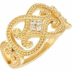 0.06 ct Granulated Design Diamond Ring