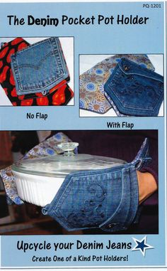 Denim Pocket Pot Holder Pattern (dear god, i have so many pairs of jeans i will never ever fit into again and are about sizes too big. i could make a ridiculous amount of potholders, lmao. Jean Crafts, Denim Crafts, Fabric Crafts, Sewing Crafts, Sewing Projects, Denim Armband, Artisanats Denim, Denim Rug, Denim Ideas