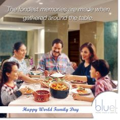 A family that eats together stays together. Today on #Worldfamilyday, have a memorable meal with your family. After all, there is nothing more important than family.