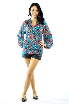 Kira Ruched Neckline Top-Turquoise