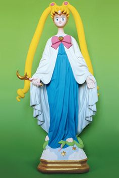 Statues of the Virgin Mary transformed into saintly superheroes