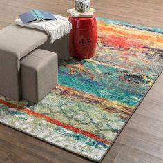 Mohawk Home Strata Eroded Color Area Rug x - 15600005 - Overstock - Great Deals on Mohawk Home - Rugs - Mobile Shabby Chic Kitchen, Shabby Chic Homes, Orange Area Rug, Blue Area Rugs, Mohawk Home, Contemporary Area Rugs, Contemporary Style, Modern Rugs, Modern Wall