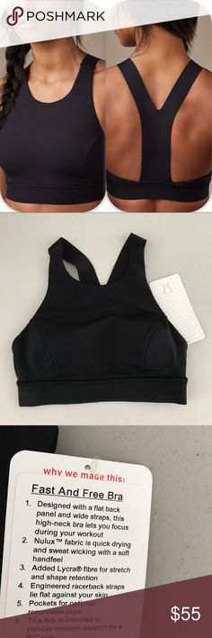 NWT BLK LULULEMON FAST AND FREE BRA - - 4 or 6 Brand: Lululemon Athletica Fast and free bra             Condition: New with tag || Size 4 or 6   || BLK Black  Pad inserts included  🚩NO TRADES  🚩NO LOWBALL OFFERS  🚩NO RUDE COMMENTS  🚩NO MODELING  ☀️Please don't discuss prices in the comment box. Make a reasonable offer and I'll either counter, accept or decline.   I will try to respond to all inquiries in a timely manner. Please check out the rest of my closet, I have various brands. Some…
