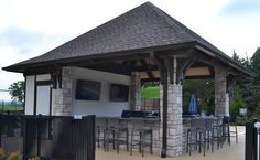 This handsome timber frame pavilion provides a perfect poolside retreat for country club patrons in Southeast Tennessee.