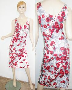 EVA & CLAUDI Viscose Blend Red Floral Print Ruched Waist Faux Wrap Dress S...http://stores.shop.ebay.com/vintagefluxed