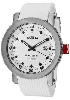 Price:$119.00 #watches Red Line 18000-02-WHT-ST, An aura of brilliance. This Red Line timepiece glows with its irradiant charm. Its smooth design will intensify anyone's personality.