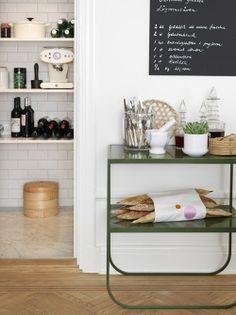 chalkboard + herringbone floors + subway tile