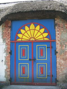 Blue and yellow farmhouse door, Germany