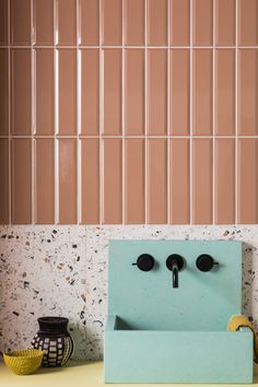 Mandarin stone created this Norse Subway Terra Gloss Ceramic Tiles. Beautiful pastel color palette and home interior design inspiration. Interior Room, Bathroom Interior Design, Interior Stairs, Kitchen Interior, Interior Ideas, Interior Styling, Bad Inspiration, Bathroom Inspiration, Bathroom Ideas