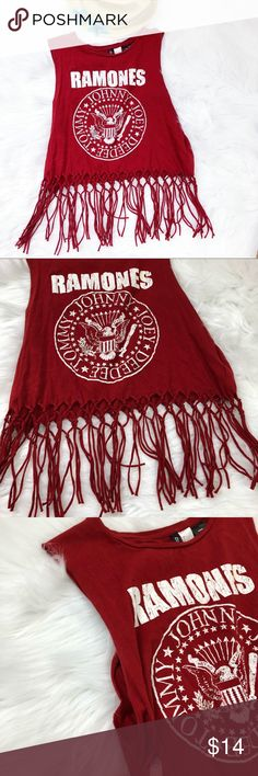 Ramones distressed crop tassel tank top Awesome Ramones band tank top.  Gently worn.  Size large.  Super distressed.  See all photos.  Would be cute on the beach! Divided Tops Tank Tops