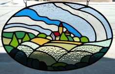 stained glass landscapes | Stained Glass Window Panel Landscape