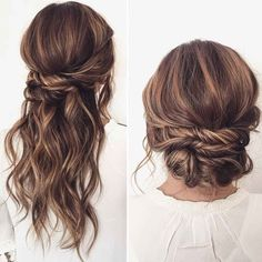 Half up half down wedding hairstyle Half up half down wedding hairstyles,partial updo bridal hairstyles - a great options for the modern bride from flowy bohemian to clean contemporary Short Bridal Hair, Short Wedding Hair, Wedding Hair Down, Wedding Hairstyles For Long Hair, Braided Hairstyles, Bridal Updo, Easy Updos For Medium Hair, Medium Hair Styles, Curly Hair Styles