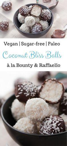 Bounty & Raffaello Coconut Bliss Balls | Sugar-free, Paleo & Gluten-Free Christmas Treat | #blissballs #bounty #raffaello, #christmasrecipes #paleorecipes #sugarfreedessert #glutenfreerecipe #glutenfreevegan #veganchristmas #ediblegifts #cinnamonandcoriander