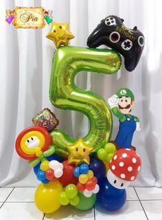 Super Mario Birthday, Mario Birthday Party, Super Mario Party, Boy Birthday, Birthday Parties, Balloon Centerpieces, Balloon Decorations Party, Balloon Garland, Balloon Bouquet Delivery