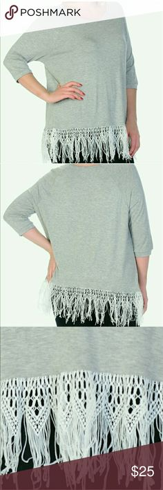 🔔PLUS SIZES 1X - 3X🔔 Fringe Scoop Neck Top NWT Very soft Fabric  Gray scoop neck top with white fringe at hem 97%Rayon  3% Spandex  Pls see size chart. Any questions about sizes, pls ask before ordering. Bellino Clothing Tops Tees - Short Sleeve