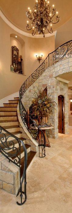 Mediterranean Foyer & Stairway