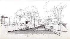 Landscape Architecture Drawing, Landscape Sketch, Landscape Drawings, Concept Architecture, Landscape Design, Architecture Design, Library Drawing, Perspective Sketch, Plan Sketch