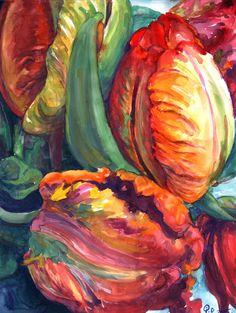 Tulips, Watercolor painting by QI Debrah | Artfinder