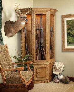 Old Buchanan Solid Wood Corner Gun Cabinet