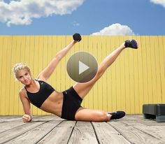 The Lying Half-Jack exercise works your shoulders, abs and butt.