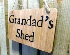 Grandad's shed sign - Oak wood sign - Shed sign - Garden sign - Gift for Grandad - Gift for him - Gift for gardener - Home decor