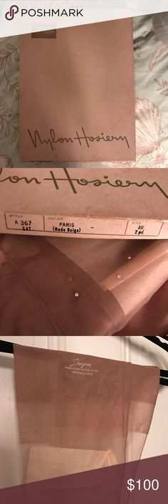 Vintage DuPont Nylon Designer Irregulars Hosiery Vintage DuPont Nylon Designer Irregulars Hosiery 60. Beige shear thigh highs with crystal rhinestones down leg. Discontinued and very difficult to get in brand new condition. Dupont Nylon Accessories Hosiery & Socks