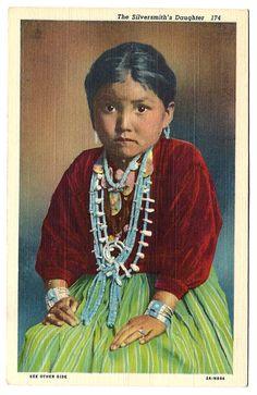 #Navajo #Native #American #Indian #Silversmith Daughter #Antique #Linen #Postcard c1940s Little Girl #Vintage #Ephemera #evt #etsyvintageteam by OakwoodView