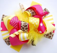 boutique FUNKY fun SUNNY cheetah hair bow clip by andjane on Etsy, $12.99