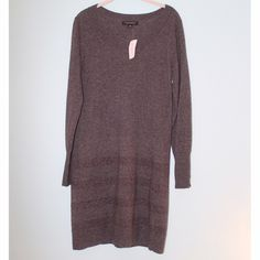 NWT Banana Republic Sweater Dress Dark gray large Banana Republic Italian wool and cashmere sweater dress. Never been worn - NWT. Subtle metallic threaded stripes on bottom of dress. Super soft and stylish! Make me an offer and ask for discounted shipping :) Banana Republic Dresses Long Sleeve