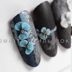 3d Nail Art, 3d Nails, Blue Nails, Nail Manicure, Orchid Nails, 3d Flower Nails, 3d Nail Designs, Nail Art Techniques, Nail Jewels