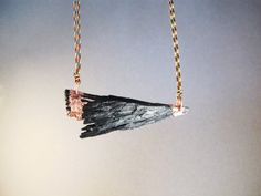 Black kyanite crystal pendant electroformed by AurumgirlStudio