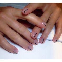 Alternative French manicure; monochrome, minimal nail art, negative space, natural nails, healthy nails, bio gel nails,