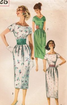 Vintage 1957 Simplicity 2025 Sewing Pattern Junior Misses' One-Piece Dress and Cummerbund Size 11 Bust Moda Vintage, Vintage Mode, Vintage Outfits, Vintage Dresses, Vintage Clothing, 1950s Style, Vintage Dress Patterns, Clothing Patterns, Mode Hollywood