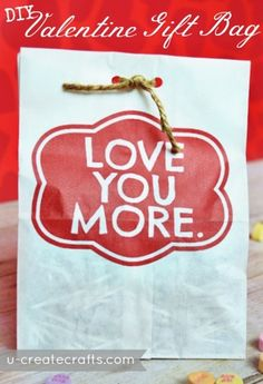 Valentine Gift Bag Tutorial - print this directly onto your paper bag for an instant gift packaging!