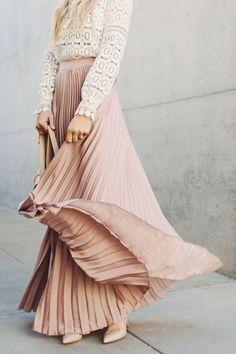 Fashion Inspiration   Blush Pleats & White Lace