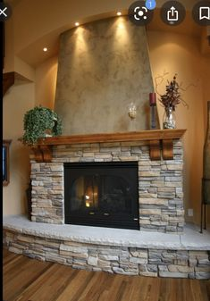 House Design, Home Fireplace, House Exterior, Home Remodeling, Fireplace Design, Stone Decor, Floor Decor, Fireplace Decor, Fireplace