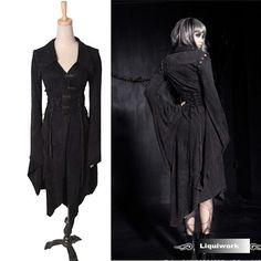Black Japanese Emo Gothic Vampire Cosplay Corset Kimono Dress Clothing