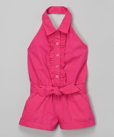 Look at this Pink Halter Romper - Infant, Toddler & Girls on #zulily today!