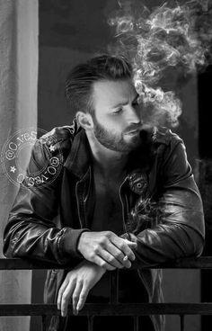 Smoking man beating off alone