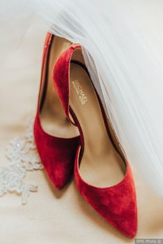 27 Red Wedding Theme Ideas to Steal for a Bold Color Palette - red wedding shoes for bride - velvet heels {SMS Photo}