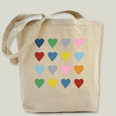 Hearts on Black Tote Bag by projectm on BoomBoomPrints