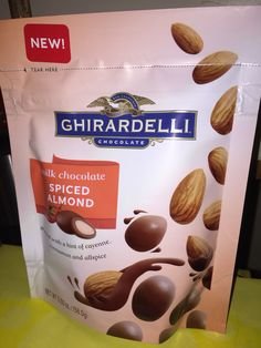 Ghirardelli chocolate milk chocolate spiced almonds with a hint of Cayenne cinnamon and allspice