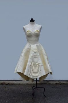 A stunning dress made out of masking tape (really), by 17 year-old BurdaStyle member melonhead.