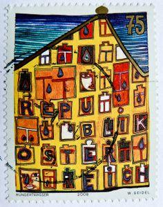 Austrian stamp by Hundertwasser Friedensreich Hundertwasser, Postage Stamp Design, Postage Stamps, Kandinsky, Love Stamps, Mail Art, Stamp Collecting, My Stamp, Modern Art