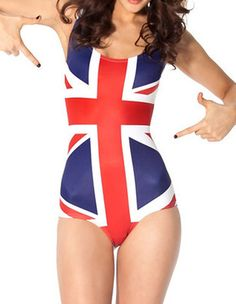 f2268cd913835 British Flag Printed Womens Fashion One Piece Swimsuit Bathing Suit Rave  Suits
