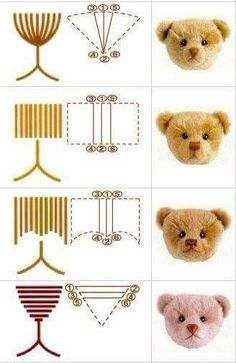 Embroidery face to an amigurumi - Crochet and Crochet Amigurumi, Amigurumi Patterns, Crochet Dolls, Doll Patterns, Felt Crafts Patterns, Crochet Bear, Beginner Sewing Projects, Crochet Projects, Sewing Toys